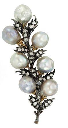 Silver, Gold, Semi-Baroque Gray Cultured Pearl and Diamond Clip-Brooch, Buccellati - ep <3