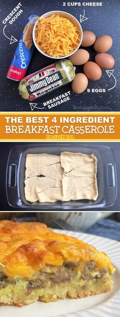 Looking for quick, easy and cheap breakfast recipes to feed a crowd or large family? This super simple breakfast casserole is made with just 4 simple ingredients: sausage, eggs, cheese and crescent do Best Breakfast Recipes, Quick And Easy Breakfast, Perfect Breakfast, Brunch Recipes, Quick Recipes, Breakfast Ideas, Healthy Recipes, Breakfast Casserole Sausage, Breakfast Bake