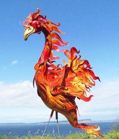 Phoenix Flamingo - handmade, garden art sculpture created from a recycled pink plastic flamingo.. $75.00, via Etsy.