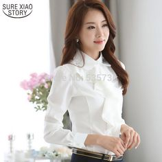 Sexy 2017 spring ol elegant long-sleeve frill shirt women's fashion plus size chiffon blouses female office formal work wear tops outlet sale online sale Chiffon Ruffle, Chiffon Shirt, Chiffon Blouses, Chiffon Fabric, Curvy Women Fashion, Plus Size Fashion, Womens Fashion, Ladies Fashion, Women's Fashion Dresses