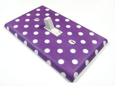 Purple and White Polka Dot Light Switch Cover Nursery Decor Switchplate Teen Girls Bedroom Decoration. $8.00, via Etsy.
