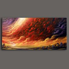 large abstract landscape painting folk art red by mattsart on Etsy, $375.00