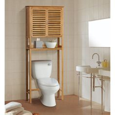 Gallerie Decor Natural Bamboo Over Toilet Space Saver (Brown   Natural  Finish)