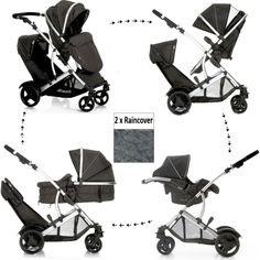 60242436a51c NEW HAUCK DUETT 2 DOUBLE TANDEM TWIN PUSHCHAIR PRAM BUGGY TRAVEL SYSTEM+ CARSEAT WITH ADAPTORS