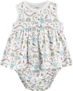 3798cad1b0148 Baby Girl Dinosaur Jersey Sunsuit | Carters.com Baby Girl Closet, Girl  Dinosaur,