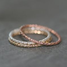 Thin Round Textured Ring by MichelleChangJewelry on Etsy