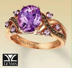 Le Vian® Gold Amethyst, Quartz & Natural Sapphire Ring A vivid oval amethyst is gracefully framed by a swirl of Chocolate Quartz™ Purple Jewelry, Amethyst Jewelry, Jewelry Accessories, Jewelry Design, Amethyst Rings, Sapphire Rings, Pretty Rings, Beautiful Rings, Amethyst Wedding Rings