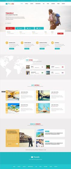 Travelz is a clean and modern design multipurpose #PSD template for stunning #travel and #tours agencies website with 80+ layered PSD files download now➩ https://themeforest.net/item/travelz-multipurpose-booking-psd-template/19867089?ref=Datasata