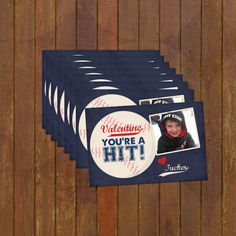 Baseball Valentines Day Cards  trading cards perfect for school parties or daycare personalized with a photo