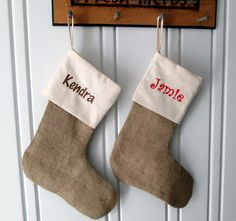 2 Personalized Burlap Muslin Christmas Stockings Embroidered Name Natural Jute Burlap Unbleached Muslin