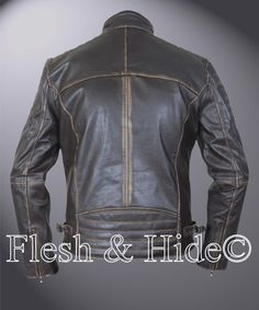 Genuine Cowhide Leather Buffed Brown Ribbed Cafe Racer Biker Motorcycle Jacket