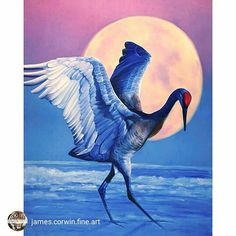"""Superb work from @james.corwin.fine.art 'Super happy with my newest painting """"Moon Dancer"""" 40x30 Oil on canvas. This painting is for the prestigious exhibition 'Birds in Art' and when planning I knew immediately that I wanted to paint a crane or heron or swan... something graceful with a long neck. I thought of how cranes dance when attracting their mates but wondering how to best portray that elegance? Knowing that the painting would be up against the top painters in the world it had to be…"""