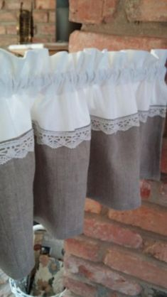 burlap and lace valance or curtain