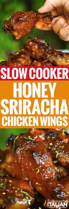 Crock Pot Sriracha Honey Wings are so tender the meat falls off the bone and melts in your mouth. The caramelized sweet and spicy sauce is truly enough to make your taste buds sing! Made in the slow cooker you won't find an easier recipe! They just abo Slow Cooker Huhn, Crock Pot Slow Cooker, Crock Pot Cooking, Slow Cooker Chicken, Slow Cooker Recipes, Crockpot Recipes, Cooking Recipes, Crockpot Chicken Wings, Crock Pots