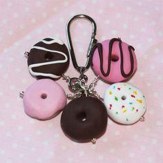 Polymer Clay Doughnut Bag Charm by Careford Creations