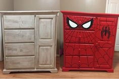 DIY Spider-Man dresser Before and after - DIY Furniture Couch Ideen Boys Superhero Bedroom, Marvel Bedroom, Kids Bedroom, Superhero Room Decor, Spiderman Bedrooms, Superhero Bathroom, Bedroom Ideas, Cozy Bedroom, Repurposed Furniture