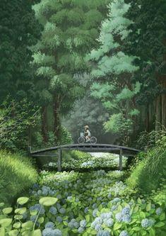 images for illustration anime art Art And Illustration, Illustrations, Illustration Landscape, Anime Scenery, Fantasy Landscape, Fantasy Art Landscapes, Fantasy Artwork, Aesthetic Art, Amazing Art