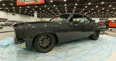 """The '66 """"Gunmetal"""" Chevelle, by LaVine Restorations, is powered by a 600HP big block and rides on Hotchkis TVS Extreme suspension system, SSBC brakes, and Nitto NT05 tires (235/40R18 & 275/35R20) on 18x8 & 20x10 Forgeline DE3C wheels finished in Matte Bronze with optional exposed hardware! See more at: http://www.forgeline.com/customer_gallery_view.php?cvk=1554  Photo by kcox Photography. #Forgeline #DE3C #notjustanotherprettywheel #madeinUSA #Chevrolet #Chevy #Chevelle #DetroitAutorama"""