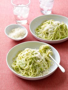 Spaghetti with Creamy Broccoli Pesto. This recipe is great for kids! (They don't have to know it's full of healthy broccoli)