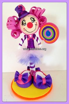 Clown Fofucha Pen Lovely! Pen is decorated and covered  and turned into a lovely Girl clown. To purchase visit fofuchas.org and like us on facebook.com/fofuchashandmadedolls  #clowns #fofuchas #circus