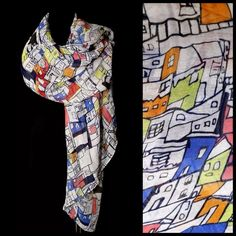 B151 Colorful & Fun White Black Red House Scarf