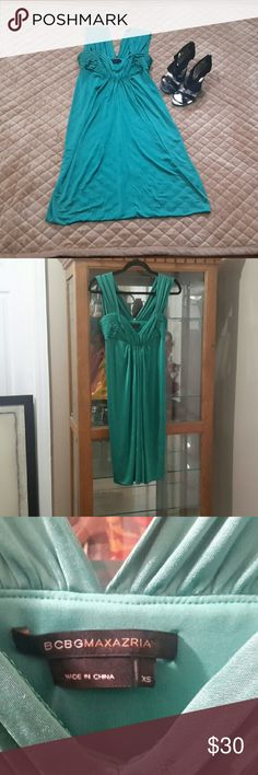 """BCBG MaxAzria Green Scalloped Bodice Dress - in great used condition - jade green - length from shoulder to hem 38"""" - sweetheart neckline - pleats that for slight ruffles down the front - wide straps - form fitting and stretchy - Shell: 96% Acetate, 4% Spandex - Lining: 84% Polyester, 16% Spandex BCBGMaxAzria Dresses"""
