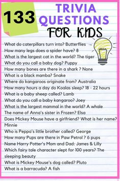 133 Fun trivia questions for kids with answers