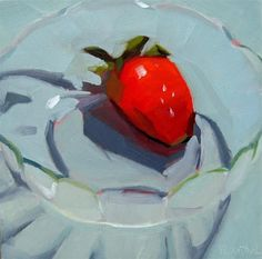 """Daily Paintworks - """"Strawberry in Glass Bowl"""" - Original Fine Art for Sale - © Robin Rosenthal"""