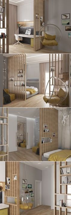 51 Room Divider Ideas To Not Miss Today bedroom bed juveniles-home decor inspiration. bohemian style and colorful. interior bedroom small spaces 51 Room Divider Ideas To Not Miss Today - Stylish Home Decorating Designs Home Design, Small Space Interior Design, Interior Design Living Room, Living Room Decor, Bedroom Decor, Wall Design, Bedroom Loft, Bedroom Shelves, Bedroom Small