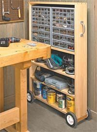 DIY Pull-out storage for workshop, garage, studio. Add some molding and/or paint to dress it up and it could be used almost anywhere. #woodworkingbench