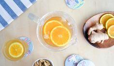 Свежа напитка със зелен чай и портокал