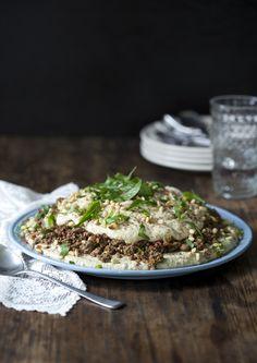 Lebanese Spiced Lamb Layered With Babaganoush & Hummus