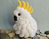 Cockatoo, needle felted wool soft sculpture / child friendly art toy