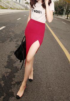 f2443d14c33e Asymmetric Hemline Skirt in Red. A little bit of sexy  ) Hunting Shirts