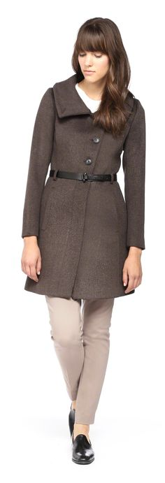 SOIA & KYO - AUTRY-F4 CLASSIC TAUPE WOOL COAT FOR WOMEN WITH BELT AT WAIST. WWW.SOIAKYO.COM #wool #womens #coat #soiakyo #jacket #fw14