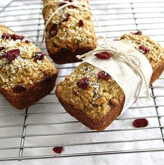Cranberry Coconut Quinoa Loaves (Gluten Free, Dairy Free)