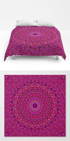 Deep Pink Garden Mandala Comforter by David Zydd Mandala Comforter, Mandala Duvet Cover, Cosy Bedroom, Modern Bedroom, Bedroom Decor, Pink Garden, Industrial Bedroom, Flower Mandala, Mandala Design