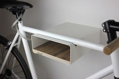 Wall mount for road bike or fixie bike. Easy to use and wall assembly. Including wall attachment Maximum length of handlebar 48 cm Dimensions: 30 cm deep 24 cm wide 11 cm tall Materials used: Birch Multiplex untreated Bicycle Wall Mount, Bike Shelf, Bicycle Rack, Rack Design, Bike Storage, Bicycle Design, Floating Nightstand, Minimalist Design, Storage Spaces
