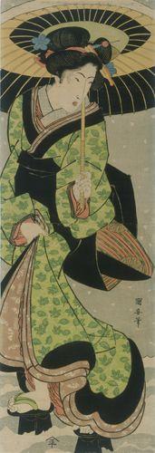 UTAGAWA KUNIYASU (Japanese, 1794 - 1833) Geisha Walking in Snow Holding Umbrella 1810-1825