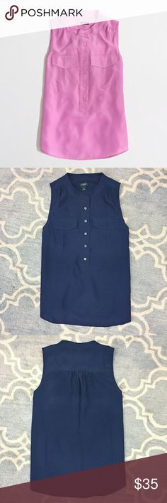 NWOT J.Crew Factory Navy Popover Beautiful utility blouse from J.Crew. This piece is gorgeous and works for the office or with jeans for a night out. It is a size 8, measures 19.5 inches from underarm to underarm and 26 inches from shoulder to hem. J.Crew Factory Tops Blouses