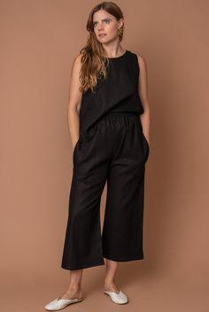 141978a2be1 Altar Black Linen Basic Tank Top. Ethical ClothingMade ...