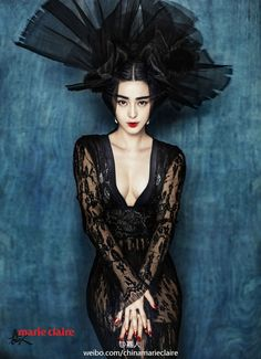 Deep V black design  Marie Claire China January 2015, Fan Bingbing,Chen Man