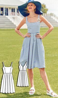 A-Line Dress Burda Jul 2016 #111B Pattern $5.99: http://www.burdastyle.com/pattern_store/patterns/a-line-dress-072016