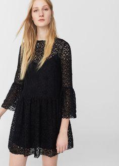 Платье с гипюром - Платья - Женская | MANGO МАНГО Россия (Российская Федерация)