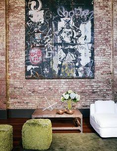 Brick walls and art on wooden panels