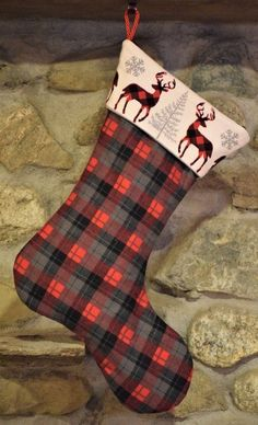 Flannel Plaid Deer Christmas Stocking, Red,Gray and Black Plaid, Deer Stocking, Flannel Christmas Fa Log Cabin Christmas, Plaid Christmas, Christmas Themes, Christmas Stockings, Christmas Crafts, Christmas Decorations, Holiday Decor, Xmas Ornaments, Winter Holidays