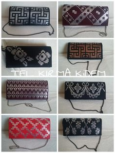 Super cute evening hand bags featuring examples of the Turkish Tel Kirma embroidery technique, the cousin/ancestor of Egyptian assiut - assuit - asyut - tulle bi telli
