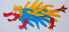 Cut out hand prints from coloured paper to make a cool dragon for Chinese New Year.