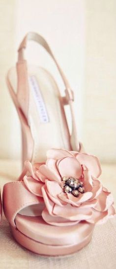 Pink Satin Rose Bridal Pump
