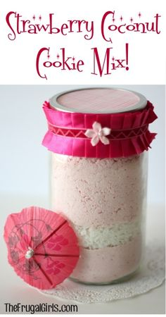 Strawberry Coconut Cookie Mix in a Jar! ~ from TheFrugalGirls.com {such a quick and easy gift to give... that makes delicious Strawberry Coconut Cookies!} #masonjars #thefrugalgirls